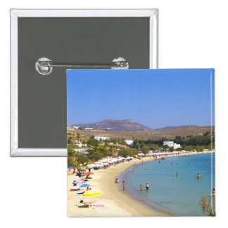 Greece, Paros Island, Krios Beach from above 2 Inch Square Button