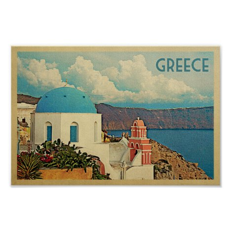 Greece Poster Vintage Travel Santorini Greek