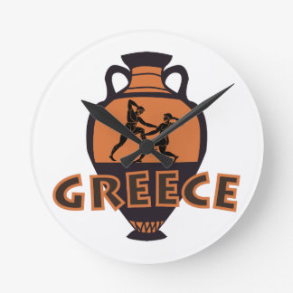 Greece Round Clock