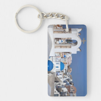 Greece, Santorini. Bell tower and blue domes of 2 Keychain