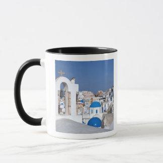 Greece, Santorini. Bell tower and blue domes of 2 Mug