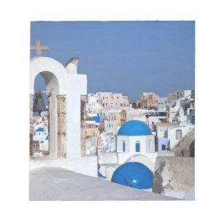 Greece, Santorini. Bell tower and blue domes of 2 Note Pad