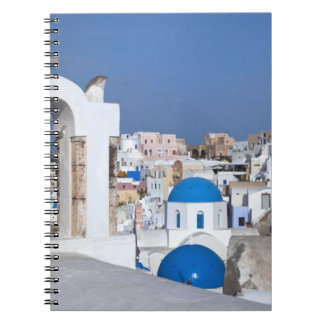 Greece, Santorini. Bell tower and blue domes of 2 Notebook