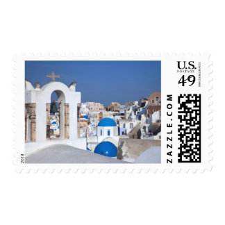 Greece, Santorini. Bell tower and blue domes of 2 Postage