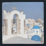 "Greece, Santorini. Bell tower and blue domes of 2 Stone Coaster<br><div class=""desc"">COPYRIGHT Darrell Gulin / DanitaDelimont.com 
