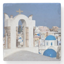 Greece, Santorini. Bell tower and blue domes of 2 Stone Coaster