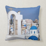 Greece, Santorini. Bell tower and blue domes of 2 Throw Pillow