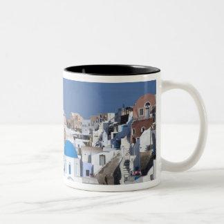 Greece, Santorini. Bell tower and blue domes of 2 Two-Tone Coffee Mug