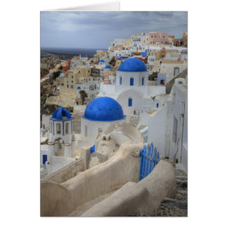 Greece, Santorini. Bell tower and blue domes of 3 Greeting Card
