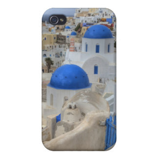 Greece, Santorini. Bell tower and blue domes of 3 iPhone 4 Case