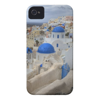 Greece, Santorini. Bell tower and blue domes of 3 iPhone 4 Case-Mate Case