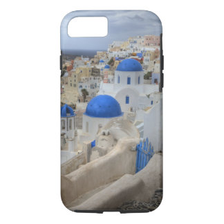 Greece, Santorini. Bell tower and blue domes of 3 iPhone 8/7 Case