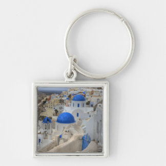 Greece, Santorini. Bell tower and blue domes of 3 Keychain