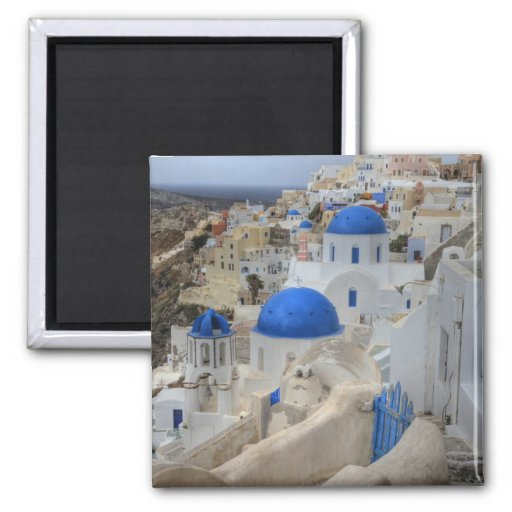 Greece, Santorini. Bell tower and blue domes of 3 2 Inch Square Magnet