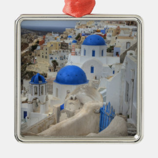 Greece, Santorini. Bell tower and blue domes of 3 Metal Ornament