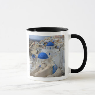 Greece, Santorini. Bell tower and blue domes of 3 Mug