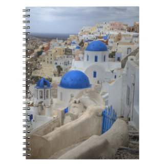 Greece, Santorini. Bell tower and blue domes of 3 Notebook