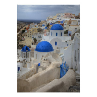 Greece, Santorini. Bell tower and blue domes of 3 Print