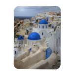 Greece, Santorini. Bell tower and blue domes of 3 Rectangular Photo Magnet