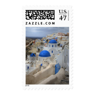 Greece, Santorini. Bell tower and blue domes of 3 Stamp