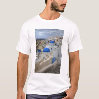Greece, Santorini. Bell tower and blue domes of 3 T-Shirt