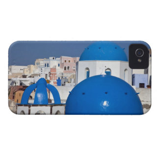 Greece, Santorini. Bell tower and blue domes of iPhone 4 Cover