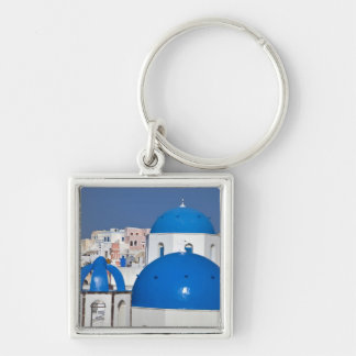 Greece, Santorini. Bell tower and blue domes of Keychain