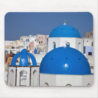 Greece, Santorini. Bell tower and blue domes of Mouse Pad