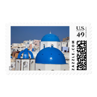 Greece, Santorini. Bell tower and blue domes of Postage Stamp