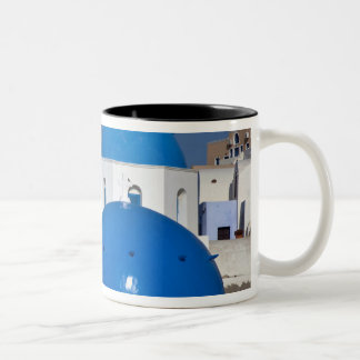 Greece, Santorini. Bell tower and blue domes of Two-Tone Coffee Mug