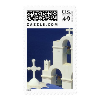Greece, Santorini. View of a Greek church and Stamps