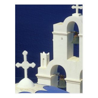 Greece, Santorini. View of a Greek church and Postcard