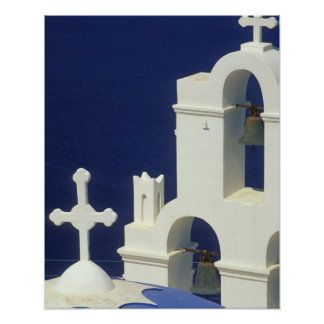 Greece, Santorini. View of a Greek church and Poster