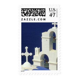 Greece, Santorini. View of a Greek church and Stamp