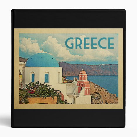 Greece Santorini Vintage Travel 3 Ring Binder
