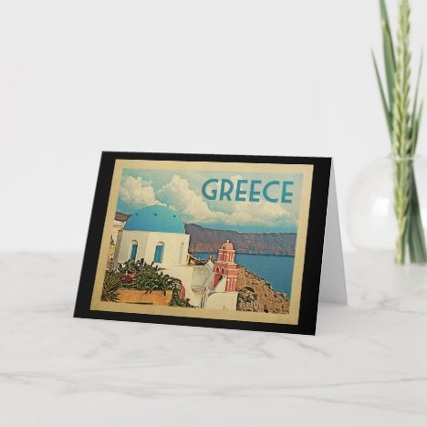 Greece Santorini Vintage Travel Card