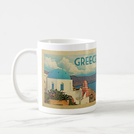 Greece Santorini Vintage Travel Coffee Mug