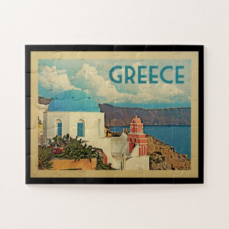 Greece Santorini Vintage Travel Jigsaw Puzzle