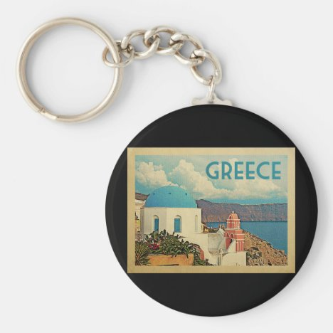 Greece Santorini Vintage Travel Keychain