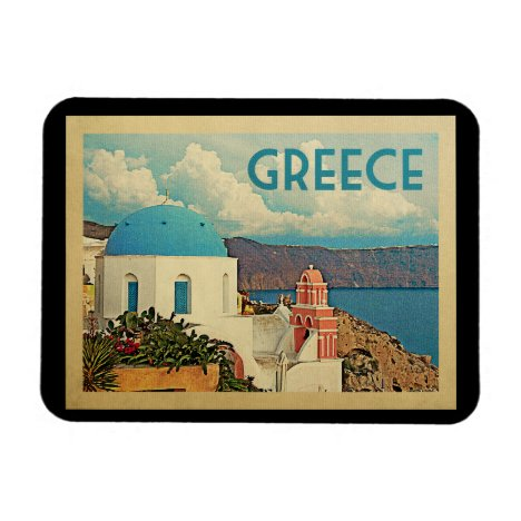 Greece Santorini Vintage Travel Magnet