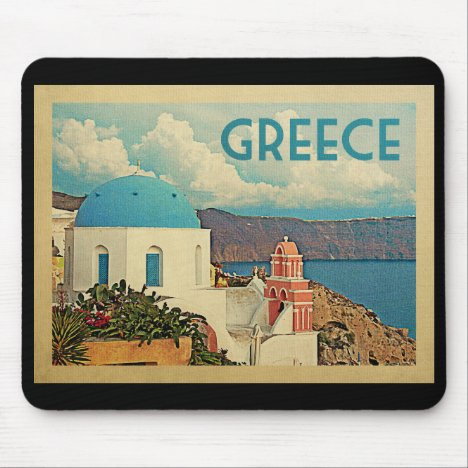 Greece Santorini Vintage Travel Mouse Pad