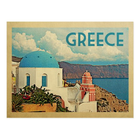 Greece Santorini Vintage Travel Postcard