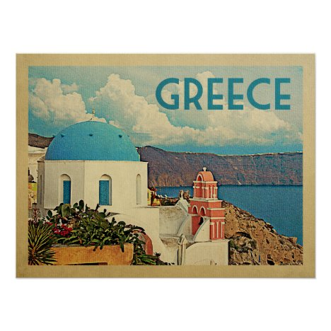 Greece Santorini Vintage Travel Poster
