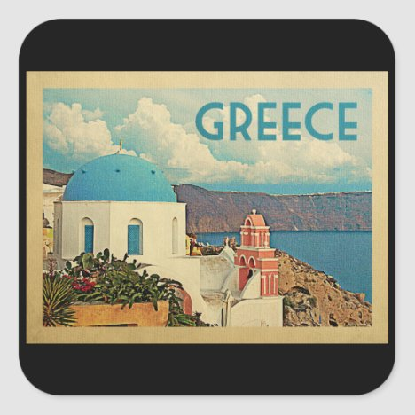 Greece Santorini Vintage Travel Square Sticker