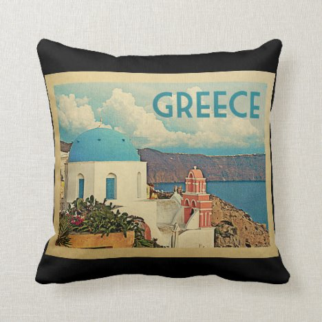 Greece Santorini Vintage Travel Throw Pillow