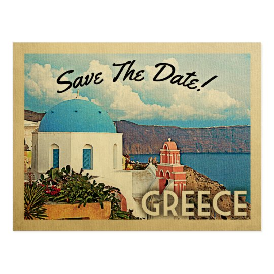 Greece Save The Date Vintage Santorini Postcard | Zazzle.com