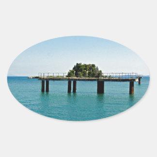 greece sea oval sticker