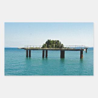 greece sea rectangular sticker