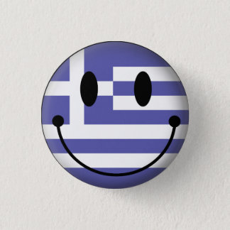 Greece Smiley Pinback Button