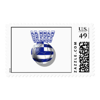 Greece soccer ball worded logo postage stamp